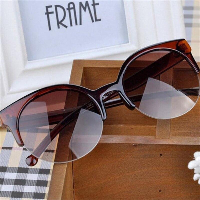 0172c73508 KLASSNUM Vintage Cat Eye Sunglasses Super Round Circle Women Semi ...