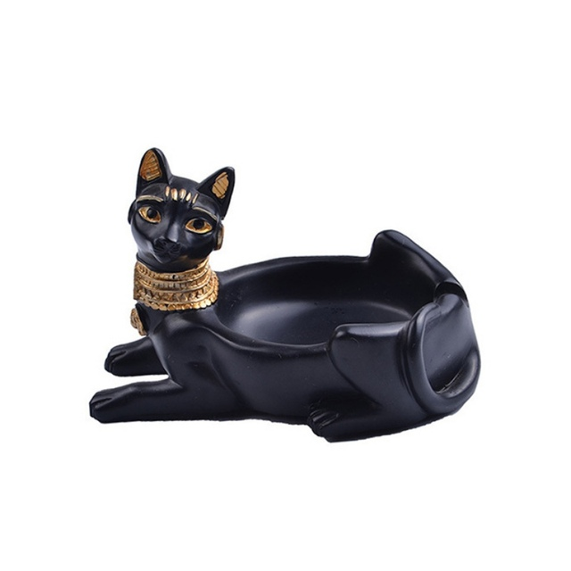 Home Resin Crafts Ornaments Creative Cat-Shaped Ashtray Retro Cat God Ashtray Egyptian Decoration Crafts Living Room Men's Gifts