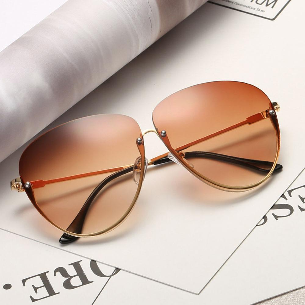 Rimless Cat Eye Women Sunglasses Transparent Fashion Brand Designer Sunglasses Lady Clearly Large Metal Frame UV400 10