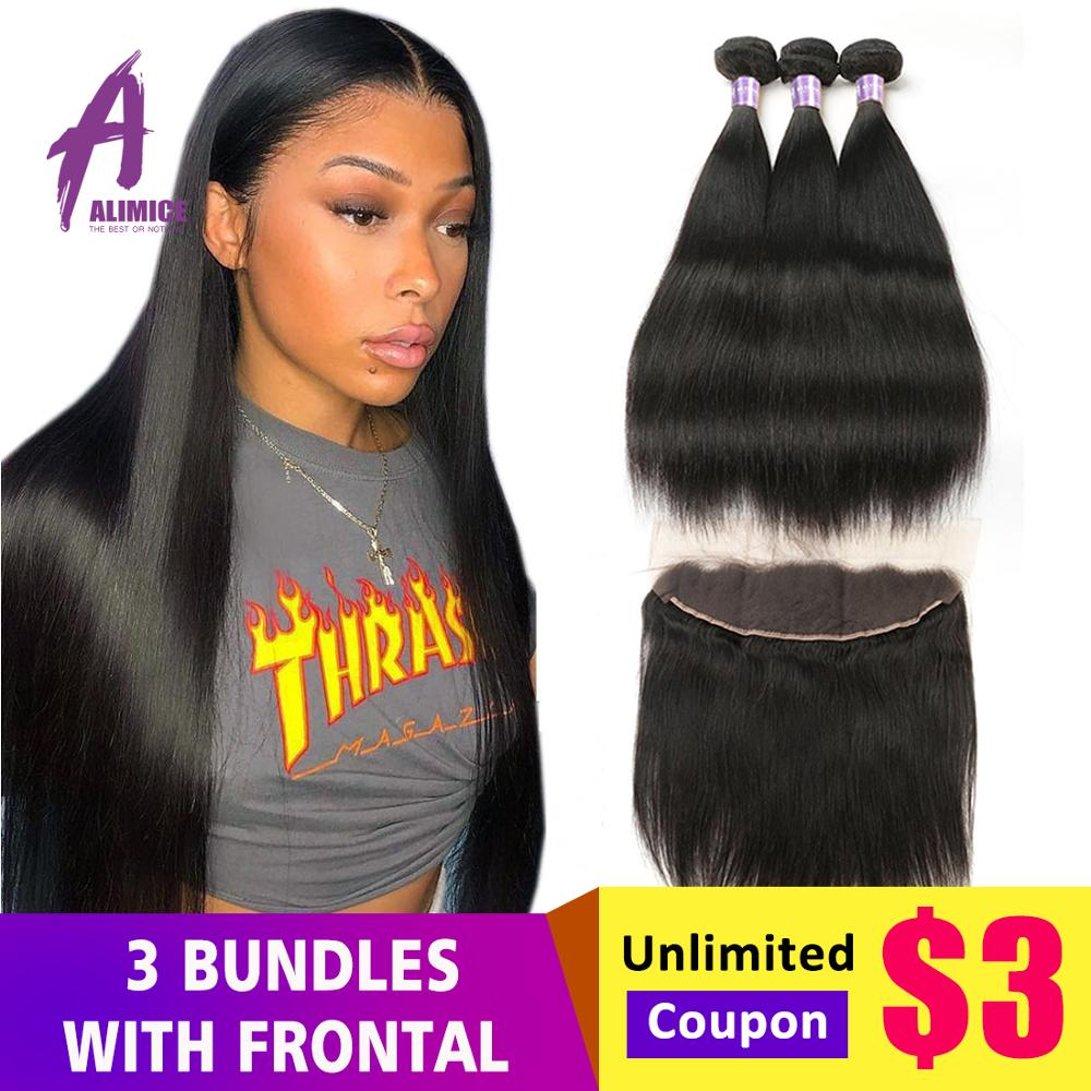 Alimice Indian Straight Hair Bundles With Frontal 13X4 Lace frontal With Bundles NonRemy Indian Hair Weave