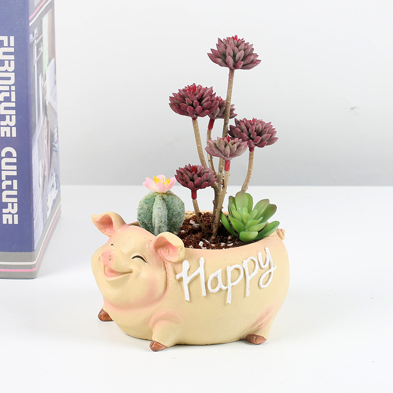 NEW Creative Resin Flower Pot for the Mascot of the Year of the Pig in 2019 planters for succulents succulents pots gift ideas-in Flower Pots & Planters from Home & Garden
