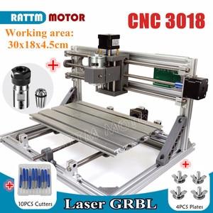Image 2 - De ship mini máquina de gravação a laser, cnc 3018 gravador laser diy hobby, ferramentas de corte er11 grbl para madeira, pcb pvc mini roteador cnc, mini roteador cnc