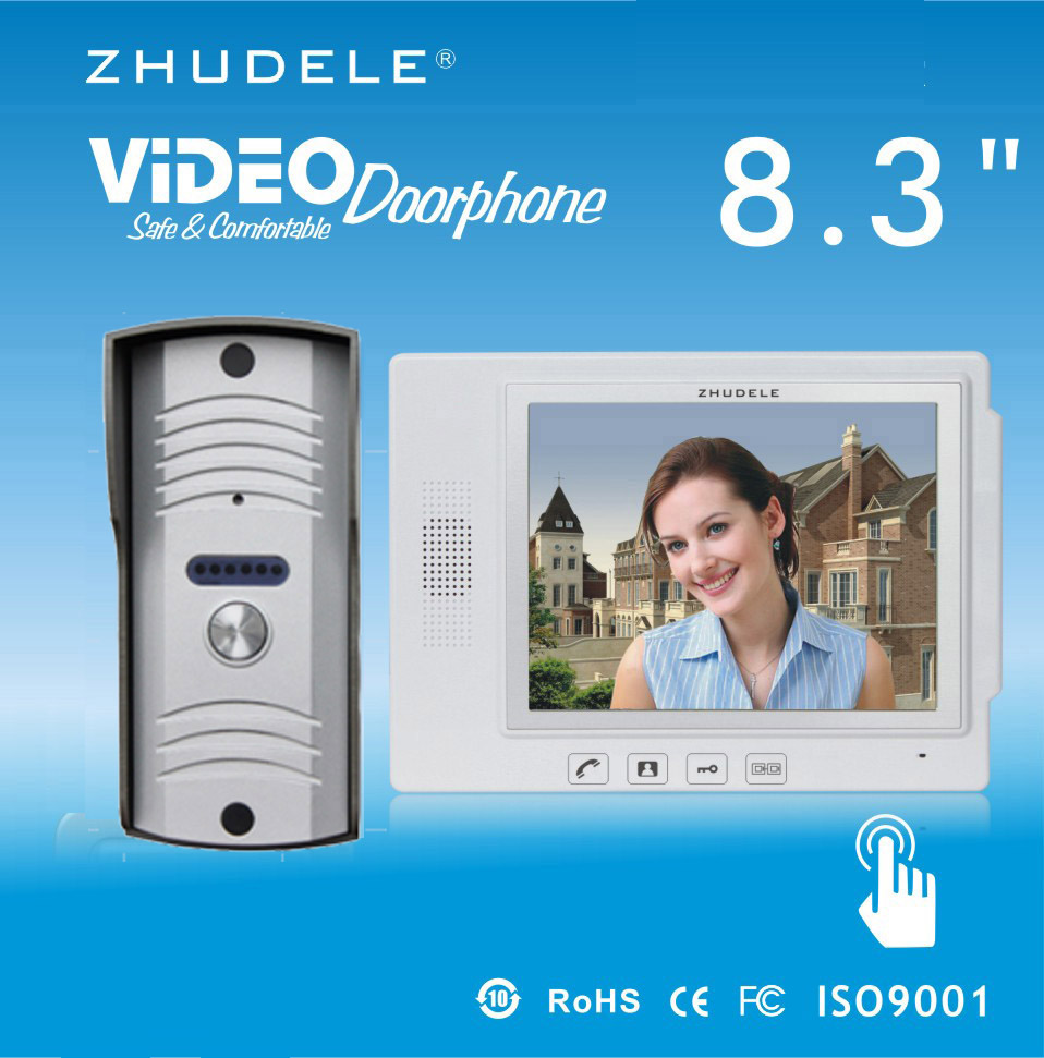 ZHUDELE Luxury 8.3Display Wired Video Door Phone Touch Key Doorbell&IR 700TVL HD Home Security CCD Camera 1V1 Security Intercom