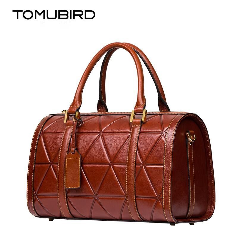 TOMUBIRD new Superior cowhide leather Simple wild grid famous brand women bag fashion genuine leather handbags Tote Boston bag tomubird new superior cowhide leather classic designer embossed crocodile leather tote top handle handbags genuine leather bag