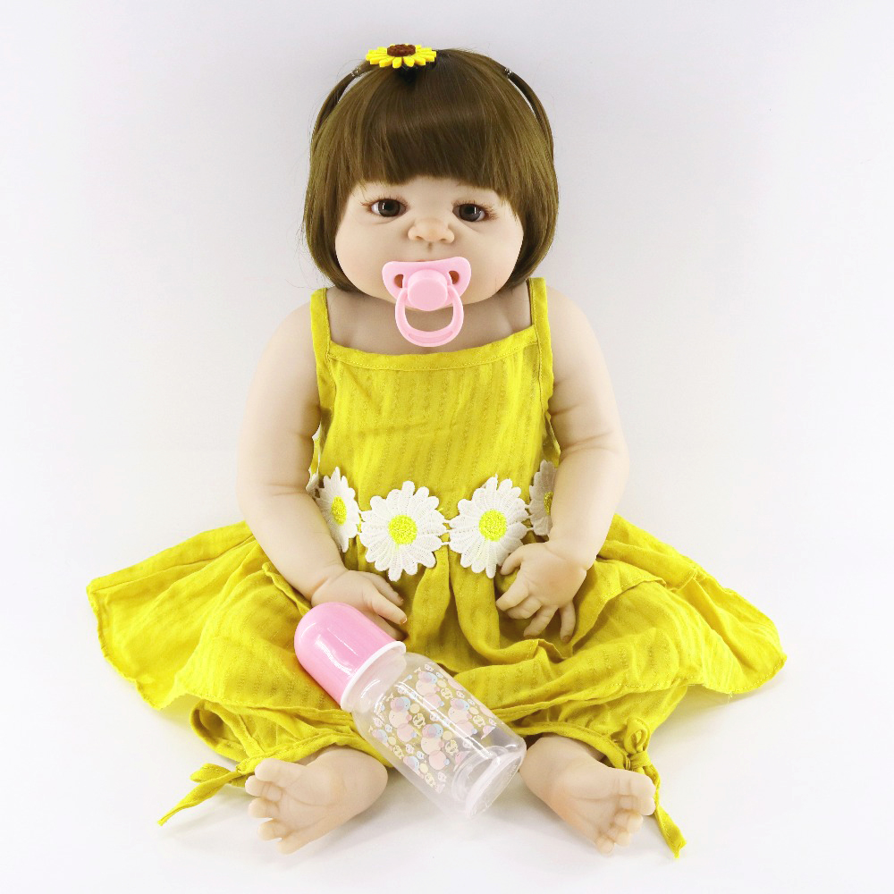 57cm Full Body Silicone Reborn Baby Doll Toys For Girls