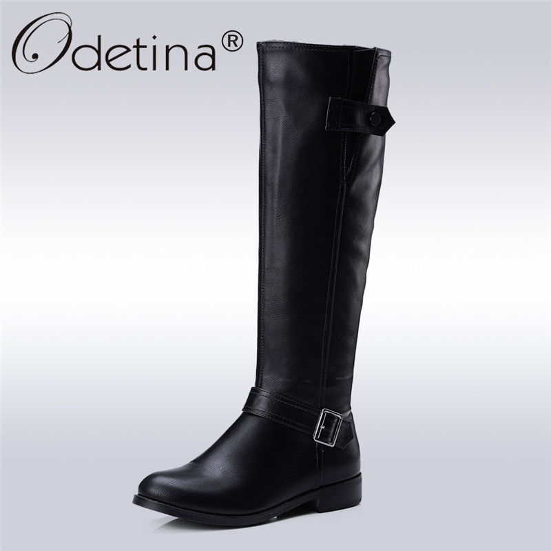 Odetina 2017 New Autumn Winter Womens Knee High Riding Boots Chunky Low Heel Wide Calf Zipper and Buckle Half Boots Plus Size 43 scoyco motorcycle riding knee protector extreme sports knee pads bycle cycling bike racing tactal skate protective ear