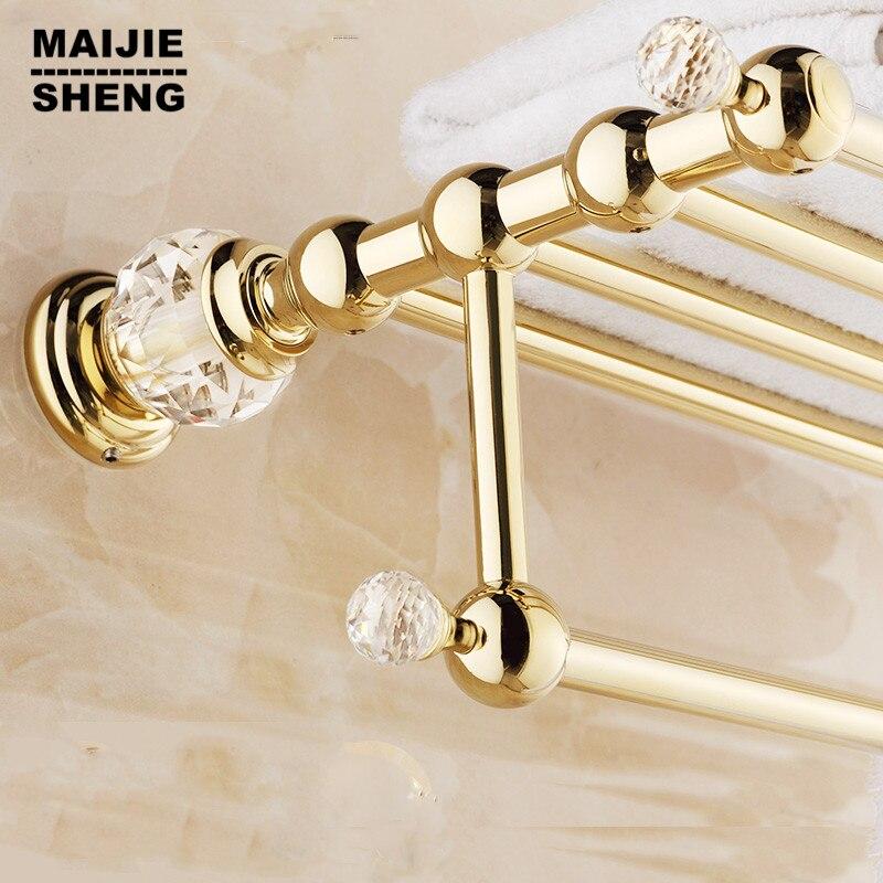 Golden luxury Brass Crystal Titanium Gold Plating Towel Rack,towel Shelf with Bar,towel Holder Bathroom accessories Maijiesheng okaros bathroom double towel bar 60cm towel rack towel holder solid brass golden chrome plating bathroom accessories