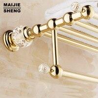 Golden luxury Brass Crystal Titanium Gold Plating Towel Rack,towel Shelf with Bar,towel Holder Bathroom accessories Maijiesheng