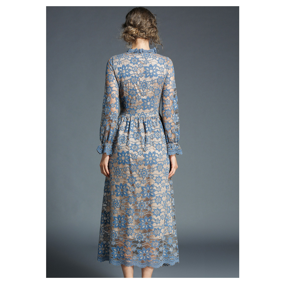 Elegant Vintage Flower Hollow Out Long Sleeve Lace Dress 5