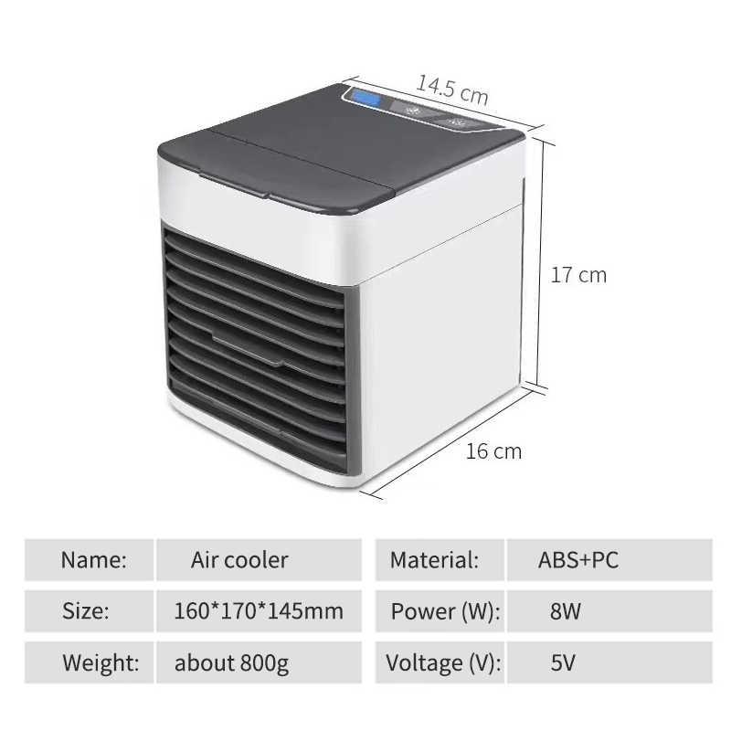 ANIMORE Condicionador de Ar Portátil USB Mini Refrigerador De Ar Umidificador Purificador de Luz LED Colorido Espaço Pessoal Ventilador de Ar Ventilador de Refrigeração