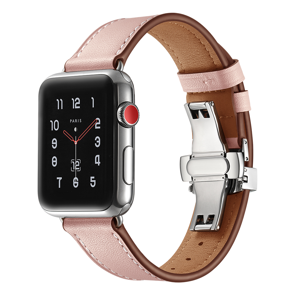 Cinturino in pelle Per apple watch band 44mm 40mm Farfalla fibbia Cinturini iwatch serie 4/3/2/ 1 42mm 38mm Cinghia di Ricambio