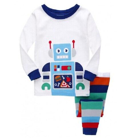 Robot Children Pajamas Suit Boys Pijama Sleepwear Baby Boy Clothing Bottom T-Shirts Kids Pyjamas Home Sport Suit Clothes G1