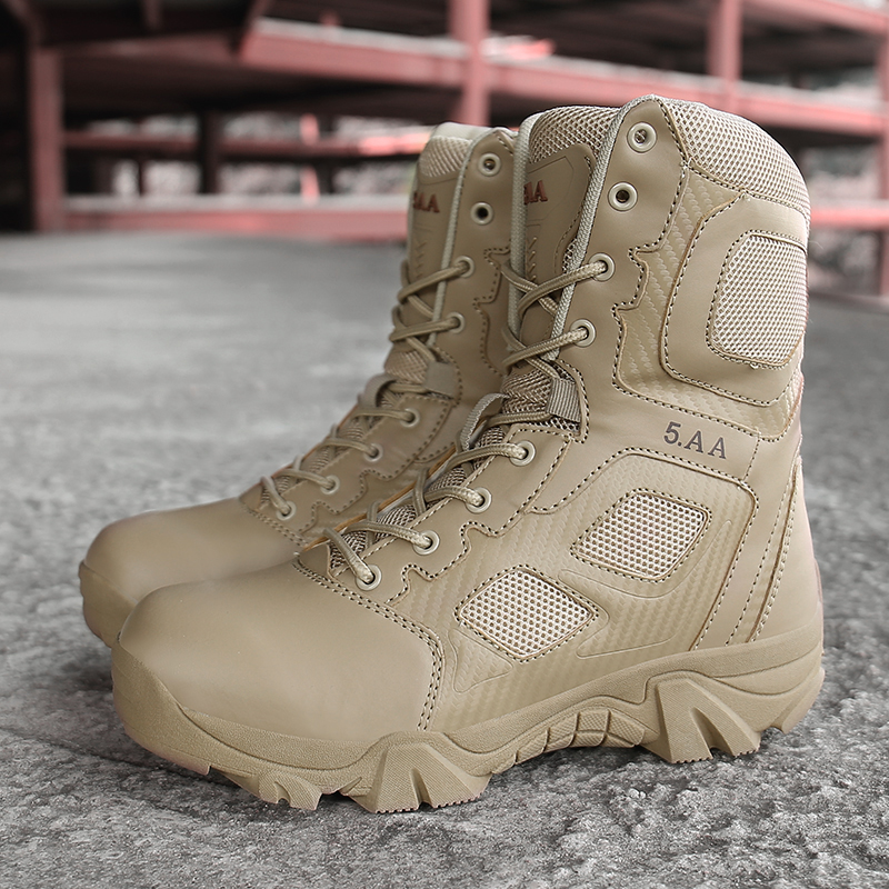 New Male High Top Spring Autumn Military Quality Boots Mens Military Desert Boot Ankle Boats Army Work Shoes Leather Snow Boots