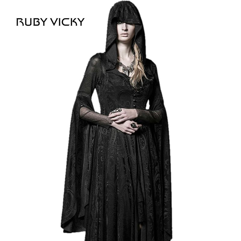 RUBY VICKY Steampunk Goethe Aristocracy Dark Long Dress The High Priestess Of The Masquerade Party Dress