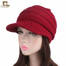 712c3151d44 2017 new fashion Women visor knit slouchy beanie Hat pleated newsboy beret  knitted cap Warm winter