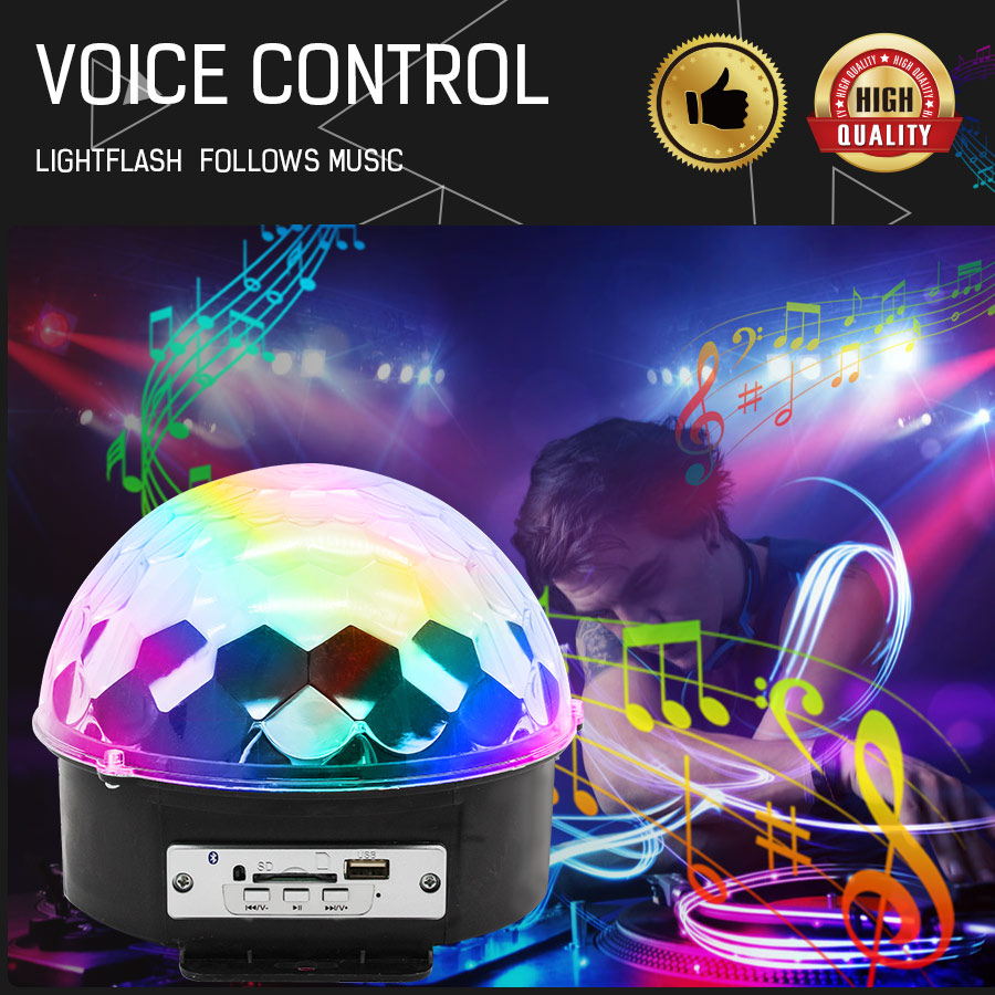EU Plug LED Disco Ball Lights 6 Colors 6W Magic Projector Stage Light Club Lamp Effect  Wireless Bluetooth Speaker With Remote
