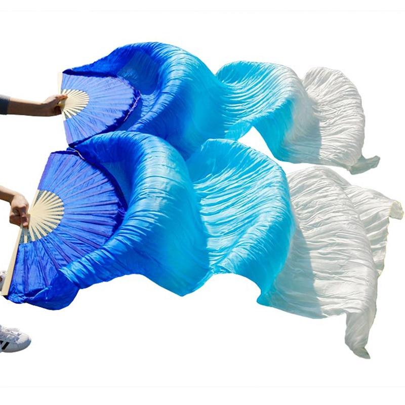 عالية الجودة 100% الحرير الصيني الحجاب المشجعين الرقص 1 زوج المشجعين الرقص الشرقي الخيزران الأضلاع الحرير طويل المشجعين 180*90 سنتيمتر اليدوية الرقص الدعائمdance fansilk veildance props -