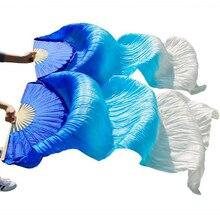 גבוהה באיכות 100% סיני משי רעלות אוהדי ריקוד 1 זוג בטן ריקוד אוהדי במבוק צלעות ארוך משי אוהדי 180*90cm בעבודת יד אבזרי ריקוד