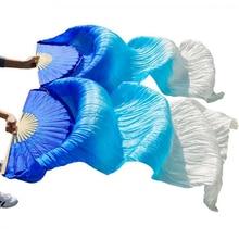 high quality 100% Chinese silk veils dance fans 1Pair belly dance fans bamboo ribs long silk fans 180*90cm handmade dance props
