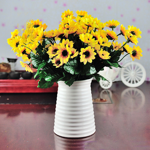 Trendy wedding bouquet artificial silk flowers sunflower for Artificial plants indoor decoration
