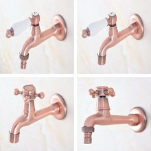 Antique Red Copper One Handle Kitchen faucet wall mounted Laundry bathroom Mop Water Tap Garden Washing Machine Faucet aav325