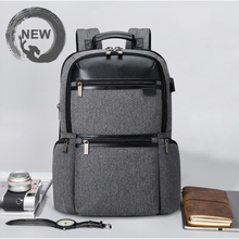 Oxford + Pu Leather Backpack Women Men Male Travel Laptop Backpacks With USB Charging 15.6 Inch Notebook Bagpack Anti Theft Bags