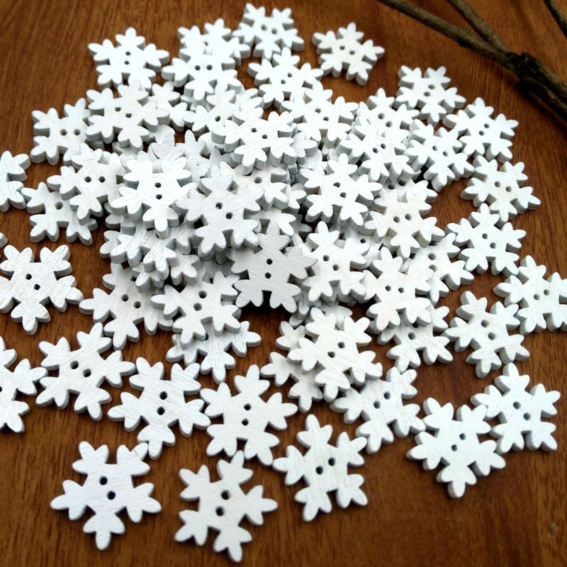 Home & Garden 50pcs Christmas Holiday Wooden Collection Snowflakes Buttons Snowflakes Embellishments 18mm Creative Decoration A Complete Range Of Specifications