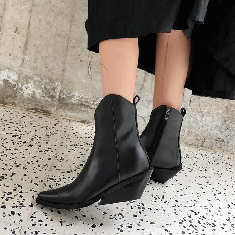 krazing pot recommend genuine leather square high heel pointed toe zipper charming model runway vintage Chelsea ankle boots l63 - 4
