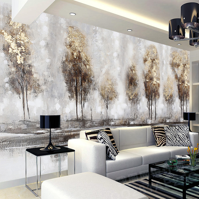 Photo 3d wallpapers hand-painted abstract landscape oil painting forest mural living room TV Background wall custom wallpaper beibehang custom 3d wallpapers hand painted retro nostalgic abstract oil painting flowers landscape european style wallpaper