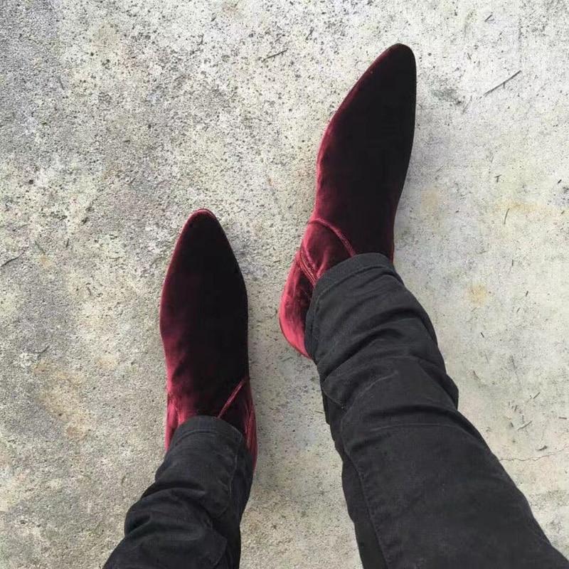 Fashion Wine Red Velvet Mens Boot Flats