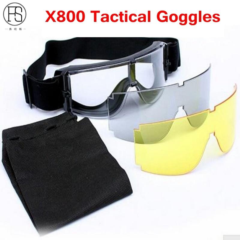 ae539469c8a75 Homens dos óculos de Sol óculos de Proteção Táticos X800 Airsoft militar Do  Exército Paintball Óculos À Prova de Vento Da Motocicleta Óculos de Proteção  3 ...