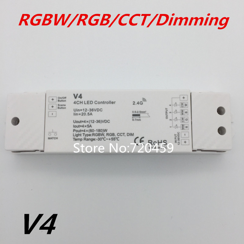 RGBW/RGB/CCT/Dimmen 4 Kanal LED RF Controller + 2,4 GHz Wireless RF Fernbedienung für RGB/RGBW LED Streifen Licht