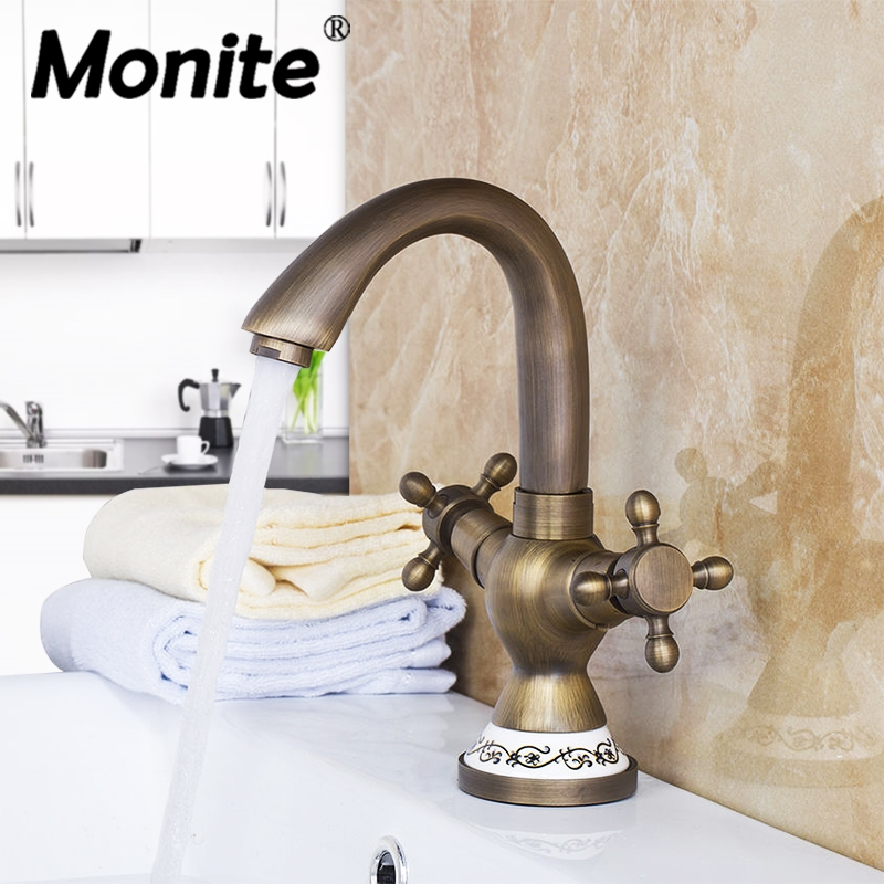 Antique Brass Ceramic Tap Mixer Faucet Unique Design Rotated Deck Mounted Kitchen Swivel Dual Handles Basin Sink Swivel Facuet golden brass kitchen faucet dual handles vessel sink mixer tap swivel spout w pure water tap