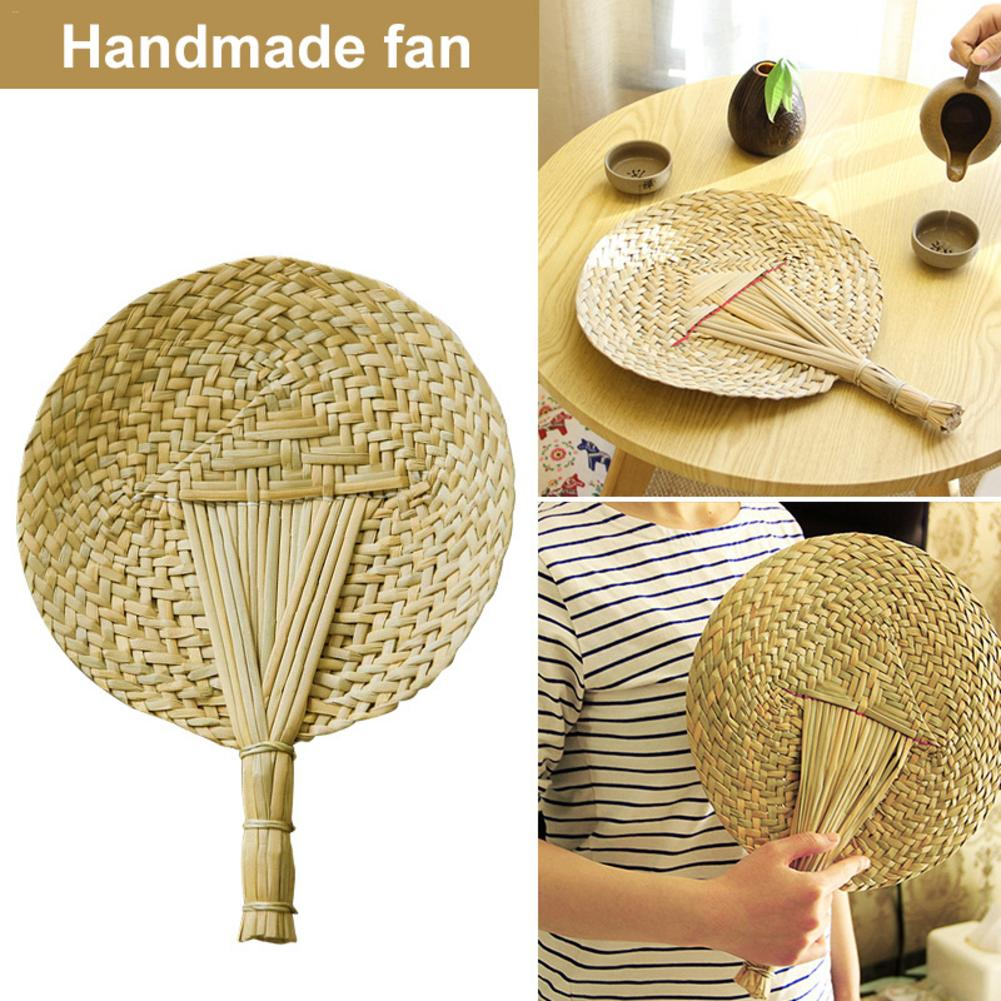Vintage Hand-Woven Straw Bamboo Fan Innovative Handmade Cattail Leaf Braided Round Fan Summer Mosquito Repellent Fans