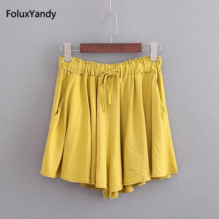 Solid Summer   Shorts   Women Plus Size 3 4 5 XL Elastic Waist Loose Wide Leg   Shorts   KKFY2087