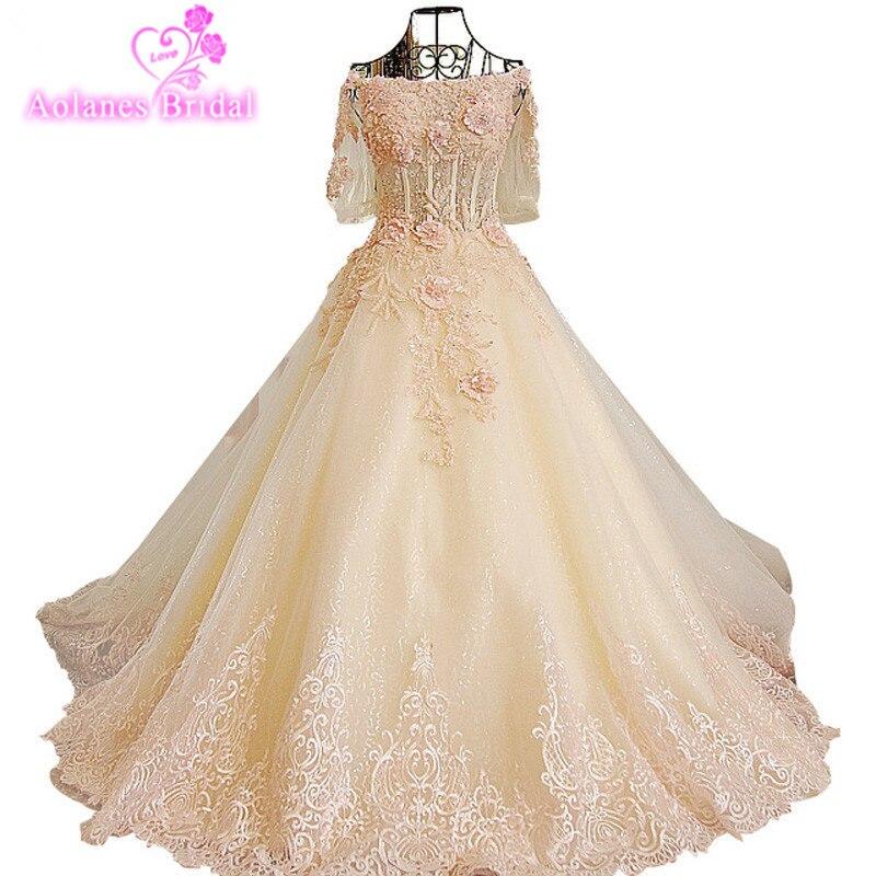 AOLANES Robe de Soiree Long Evening Dress Pink Champange Lace Appliques Evening Gowns Vestido de festa wedding Bridal dresses