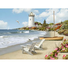 "Full Square/Round Drill 5D DIY Diamond Painting ""beach lighthouse"" 3D Embroidery Cross Stitch Home Decor(China)"
