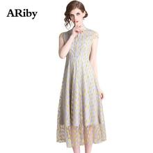 купить ARiby Temperament Women Print Dress Summer Long Mesh Dress 2019 New Office Lady Short Sleeve Stand Collar Mid-Calf A-Line Dress дешево