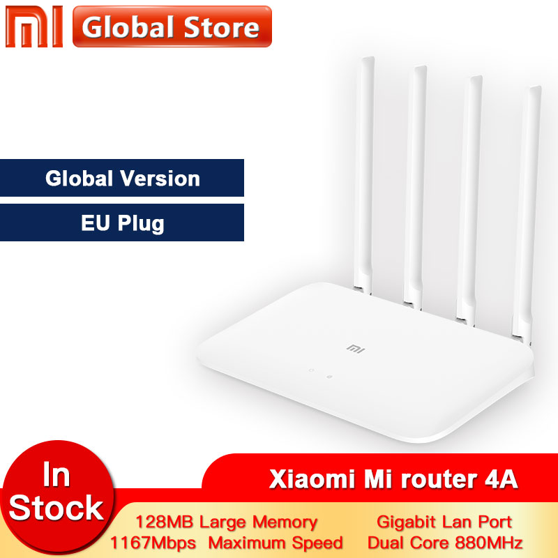Global version Xiaomi Mi 4A Router Gigabit edition 2.4GHz +5GHz WiFi 16MB ROM + 128MB DDR3 High Gain 4 Antenna APP Control  IPv6(China)