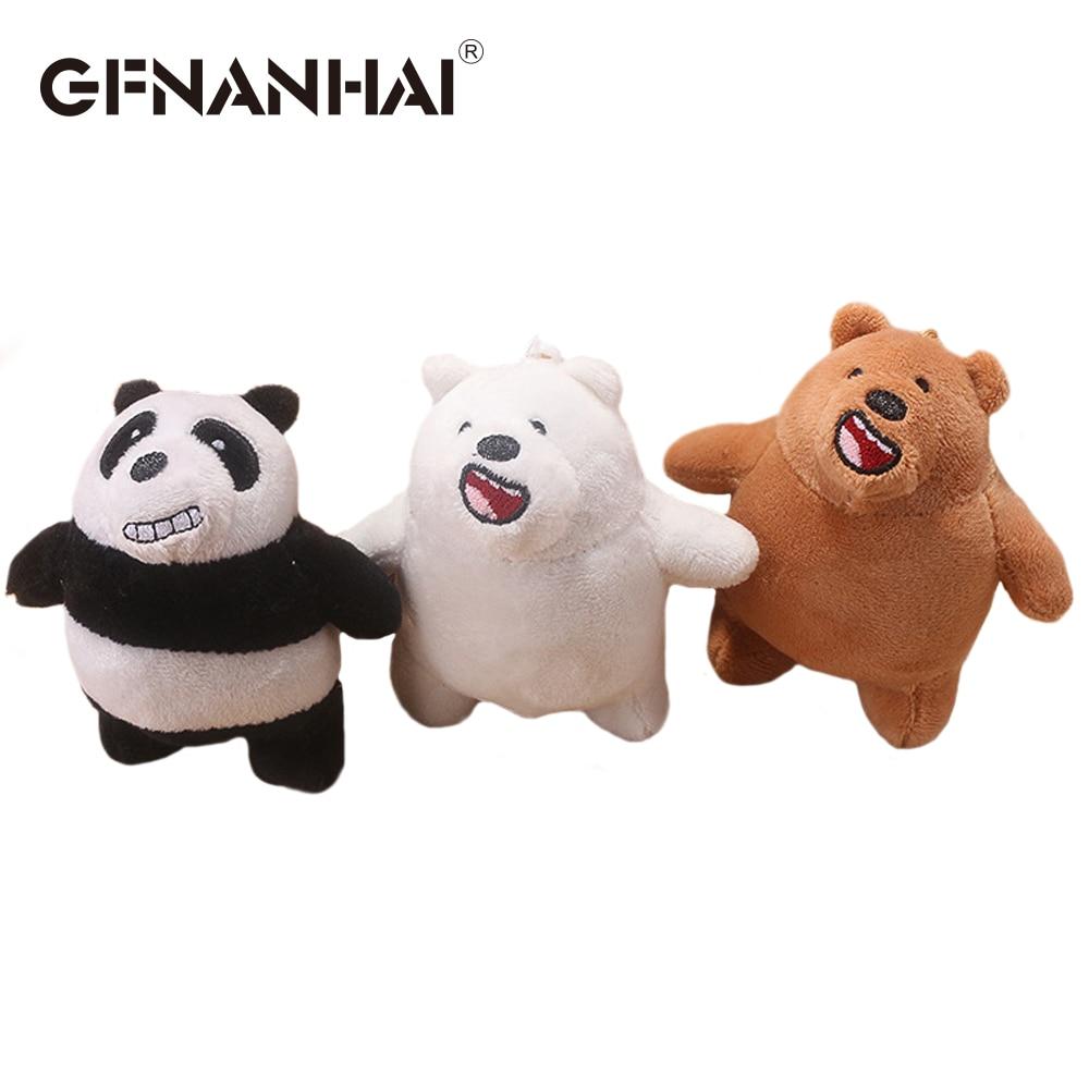 3pcslot 12cm Cute We Bare Bears Plush Bag Pendant Toy Stuffed Soft