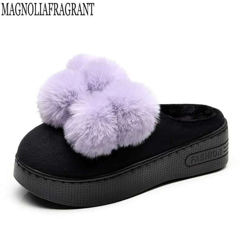 1f9336b81fc5 Hairball decoration fur slippers women winter flip flops fur women pantufas  cozy slides platform ladies slippers