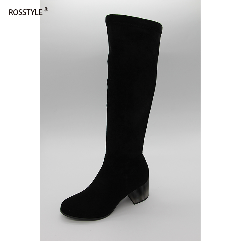 Rosstyle Plus Size Two Colors Metal Knee-High Women Boots Fleeced Classical Sheepskin Women Shoes Suede Leather Boots Elastic 2017 spring elastic frayed skinny jeans women classic high rise with rips two colors
