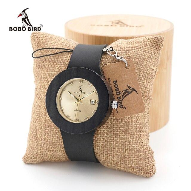 BOBO BIRD Womens Watches Women Retro Wooden Ladies Wristwatch relogio feminino with Black Leather Straps Calendar