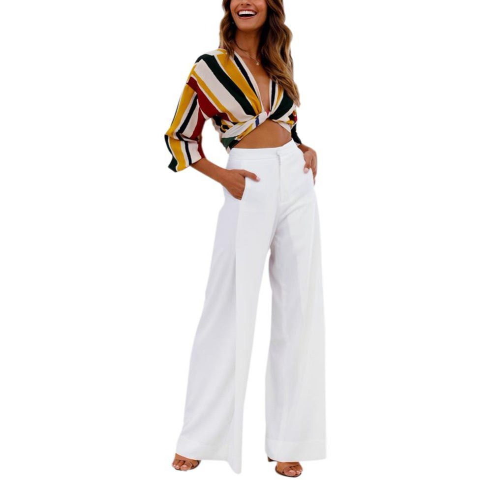 High Street Style Solid Long Length High Waist Button Fly Flare   Pants   Women Loose Cozy   Wide     Leg     Pants   Female Trousers For Women