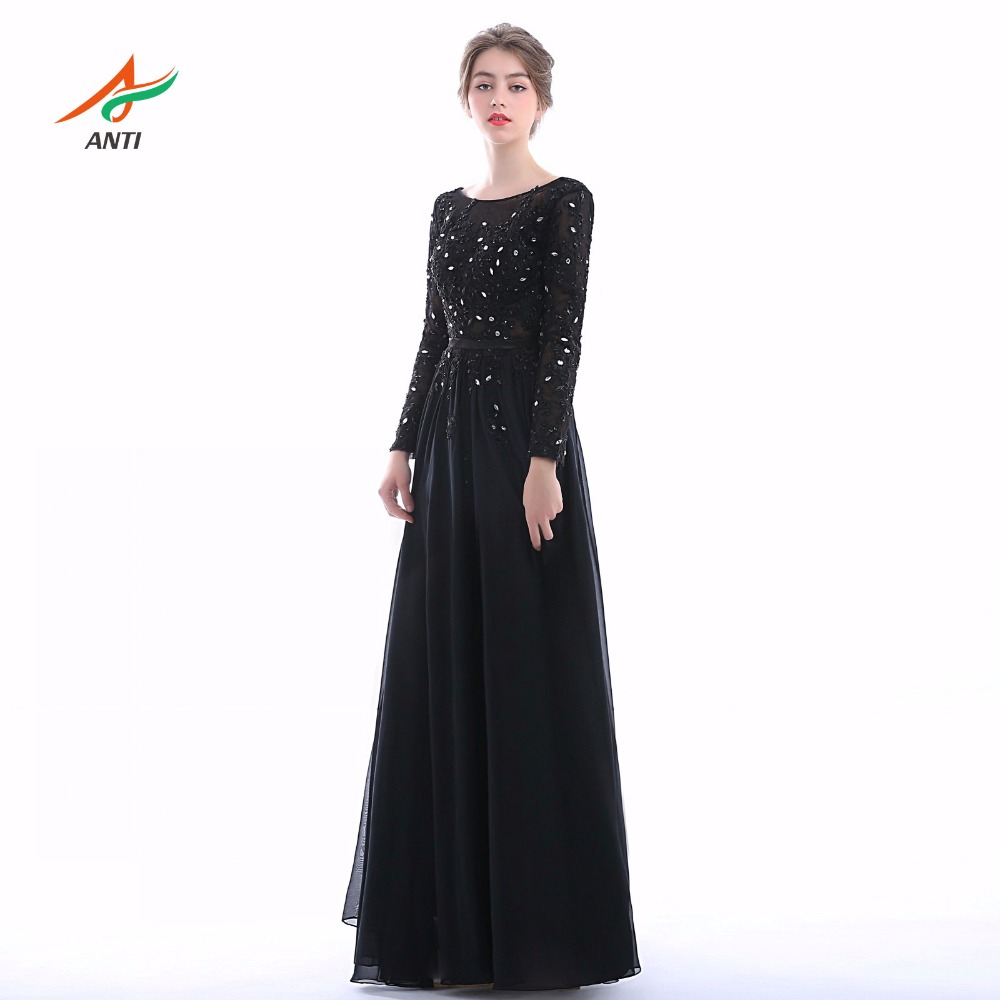 ANTI New Arrival Black Mother Of The Bride Dress Appliques Full Vestido De Madrinha Party Women Mother Bride Gown Chiffon 2019