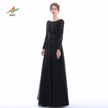 ANTI Новое прибытие Черная мама платья невесты Appliques Full Vestido De Madrinha Party Women Mother Bride Gown Chiffon 2017