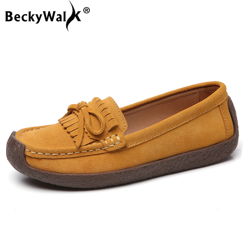 Spring Autumn Women Loafers Women's Flats Genuine   leather   Shoes Woman Moccasins Lady Slip On   Suede   Shoe zapatillas mujer WSH3218