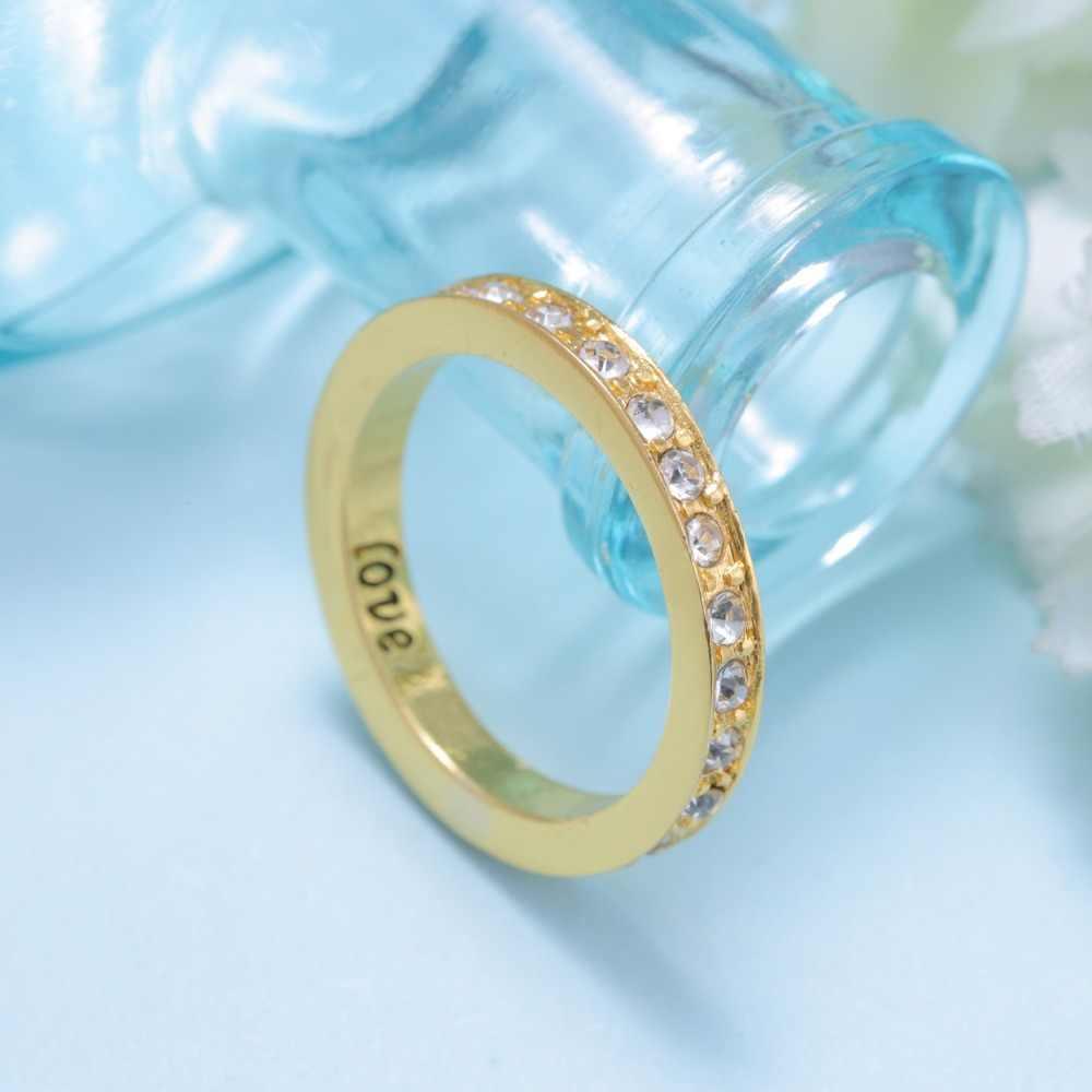 Rinhoo ที่กำหนดเอง Love แหวนผู้หญิงผู้ชายเครื่องประดับ Gold สีสแตนเลสแหวนสาวเจ้าสาวคู่แต่งงานของขวัญ Evening party