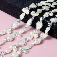 Beaded Flower Pearl Clear Crystal Rhinestones Chain Applique Sewing Trim For Wedding Dress Bags