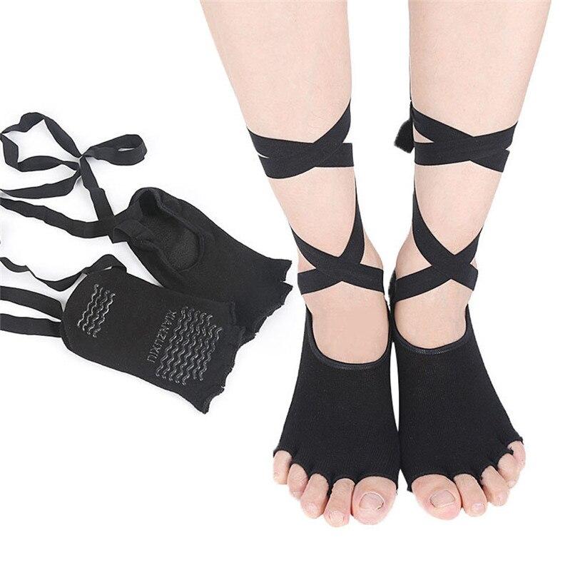 f1aabf5e91f Women Socks for Yoga Socks Women Toeless Lace-up Non Slip Pilates Barre  Ballet breathable ...